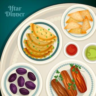 Ilustração de refeição iftar desenhada à mão