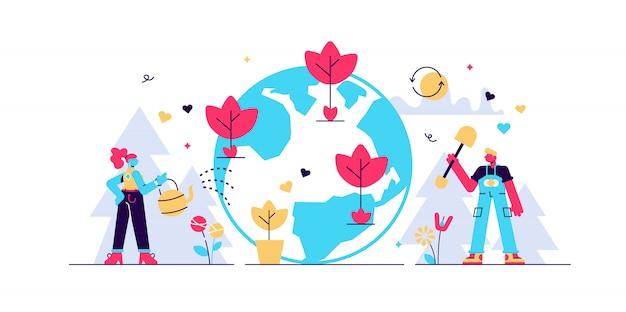 Ilustração de reflorestamento.