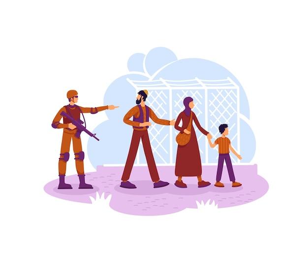 Ilustração de refugiados e guardas