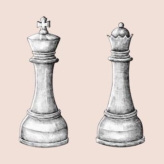 Ilustração de rei e rainha de xadrez desenhados à mão
