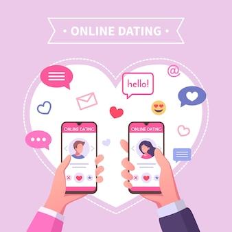 Ilustração de relacionamento virtual