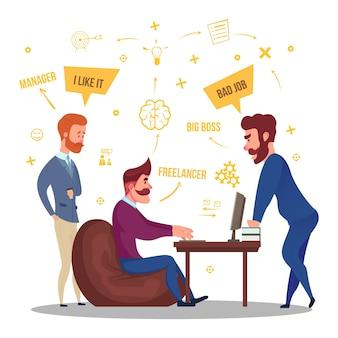Ilustração de relações comerciais freelance