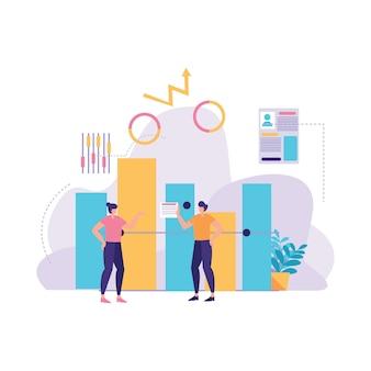 Ilustração de relatório de estatística de negócios