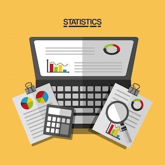 Ilustração de relatório de negócios de dados estatísticos