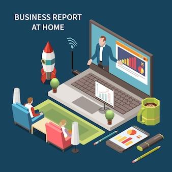 Ilustração de relatório de negócios online em casa