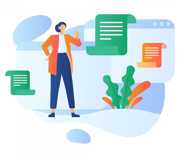 Ilustração de relatórios do cliente