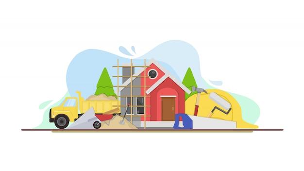 Ilustração de renovação em casa