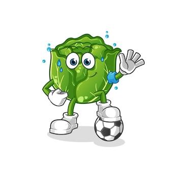 Ilustração de repolho jogando futebol