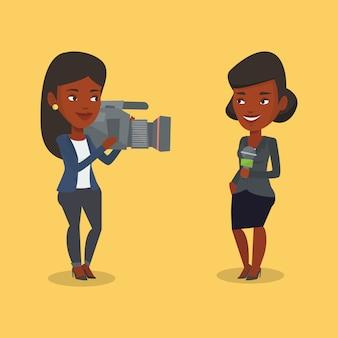 Ilustração de repórter e operador de tv.