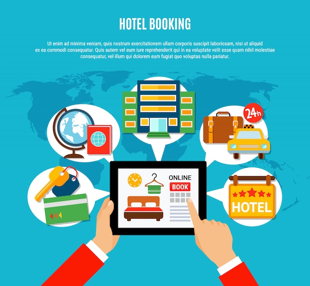 Ilustração de reserva de hotel