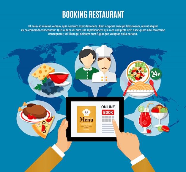 Ilustração de reserva de restaurante