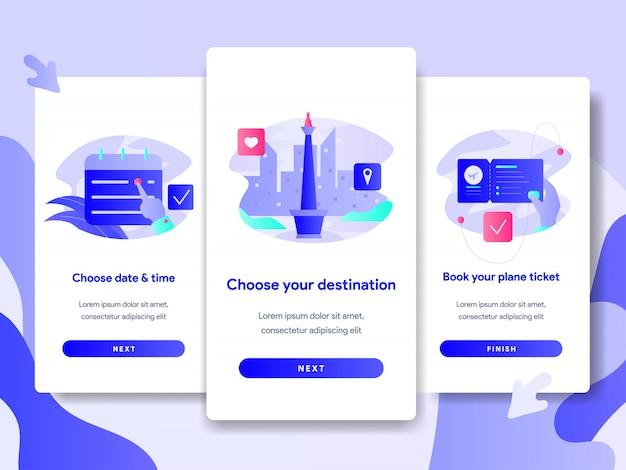 Ilustração de reservas de bilhetes online para aplicações móveis