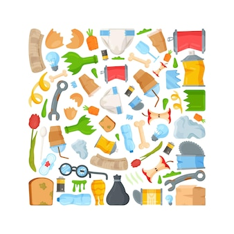 Ilustração de resíduos e lixo