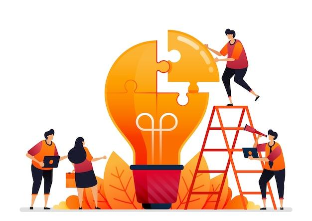 Ilustração de resolver problemas. encontre soluções com o trabalho em equipe. compartilhe ideias com brainstorming