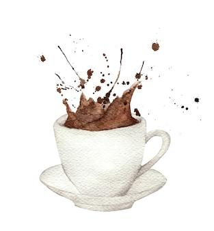 Ilustração de respingo de café em aquarela