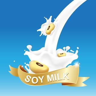 Ilustração de respingo de leite de soja