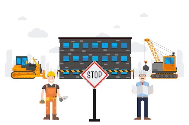 Ilustração de resultado rastreado destruição de fábrica de produtos químicos. sinal de stop na frente da máquina escavadora de objetos de trabalho perto de prédio condenado