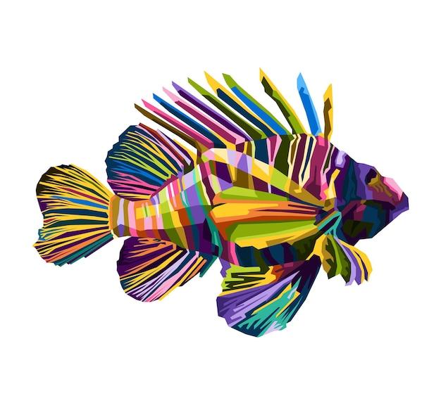 Ilustração de retrato de arte pop de peixes coloridos