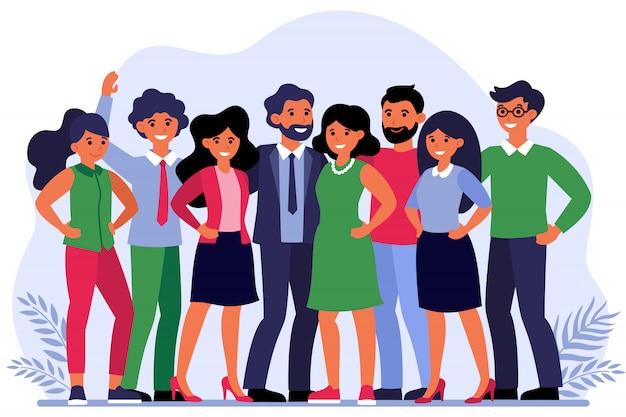 Ilustração de retrato de grupo de funcionários