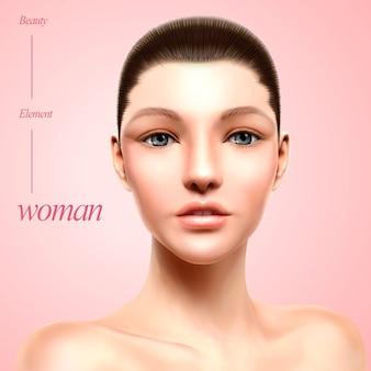 Ilustração de retrato de modelo encantador