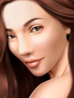Ilustração de retrato de morena atraente