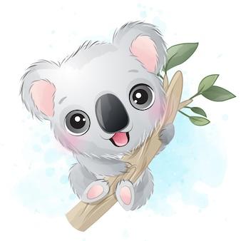 Ilustração de retrato fofo urso coala
