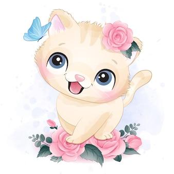 Ilustração de retrato pequeno bonito gatinho