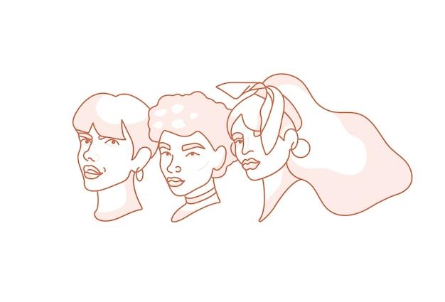 Ilustração de retratos de rosto linear de jovem - poder feminino e movimento feminista.