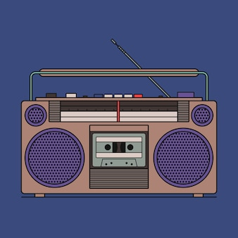 Ilustração de retro gravador de fita cassete isolado sobre fundo azul. ícone de contorno.