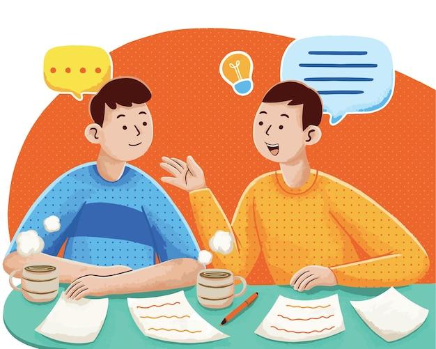Ilustração de reunião com cliente em estilo design plano