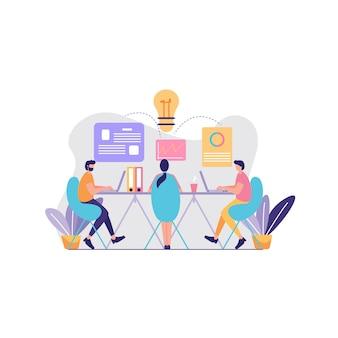 Ilustração de reunião e debate de ideias