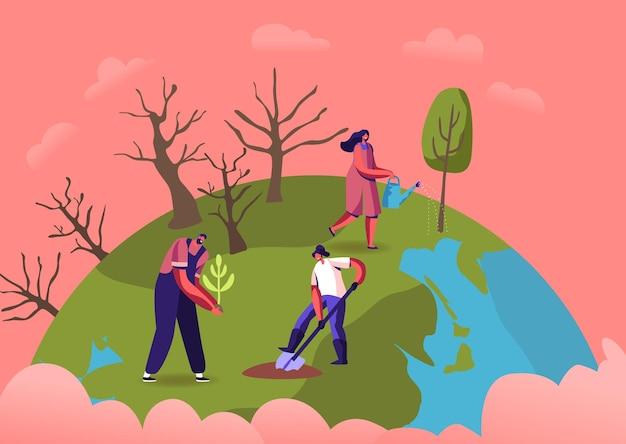 Ilustração de revegetação, restauração florestal, reflorestamento e plantio de árvores