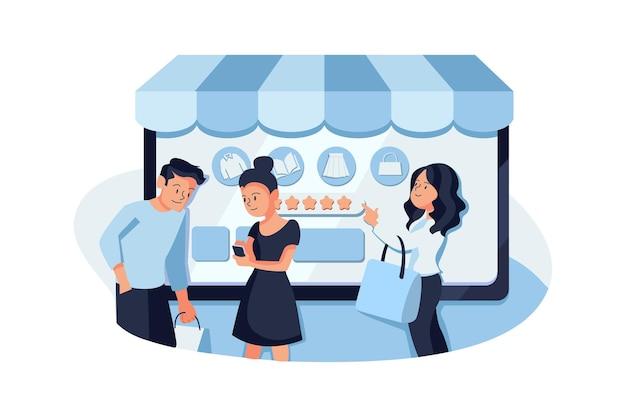 Ilustração de revisão de compras online