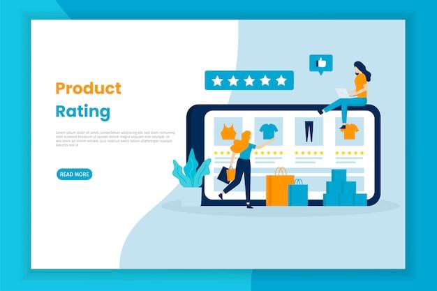 Ilustração de revisão de feedback de produto de loja on-line.