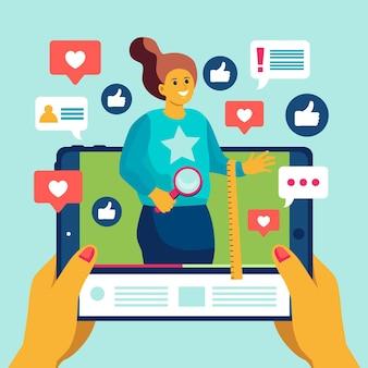 Ilustração de revisão do blogger com mulher