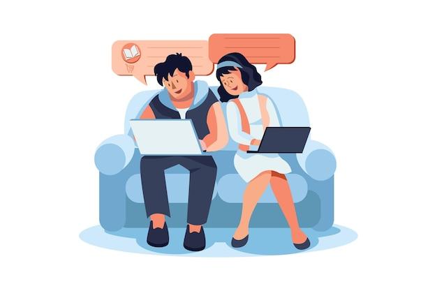 Ilustração de revisão online
