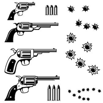 Ilustração de revólveres em fundo branco. buracos de bala. ilustrações