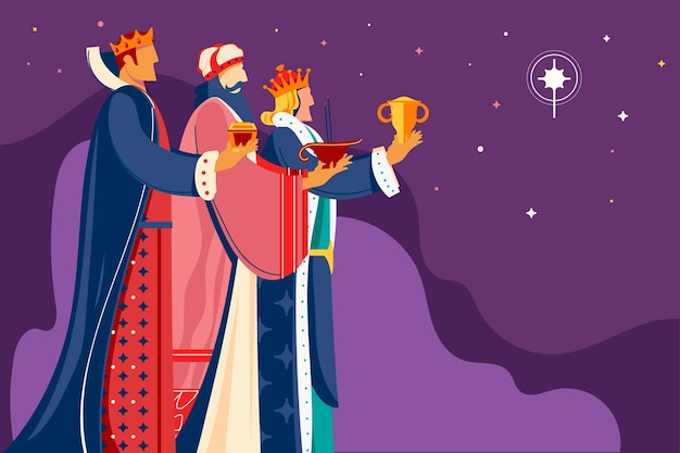 Ilustração de reyes magos desenhada à mão
