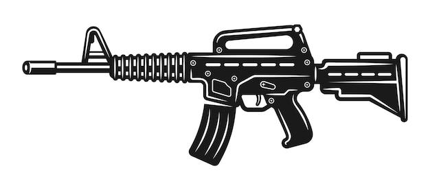 Ilustração de rifle automático isolada em branco