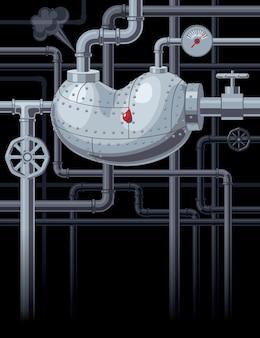 Ilustração de rim com tubos