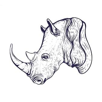 Ilustração de rinoceronte desenhada de mão