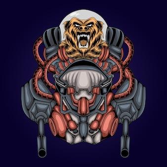 Ilustração de robô astronauta cabeça de urso