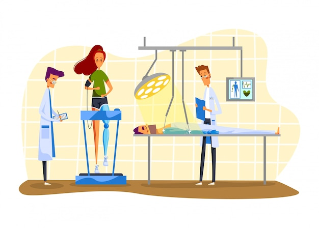 Ilustração de robô e pessoas com deficiência, personagens de desenhos animados pacientes usando membros protéticos artificiais em branco