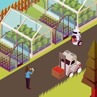 Ilustração de robôs e estufa