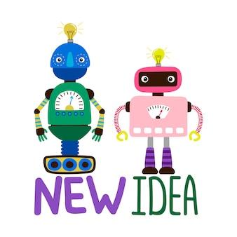 Ilustração de robôs masculinos e femininos