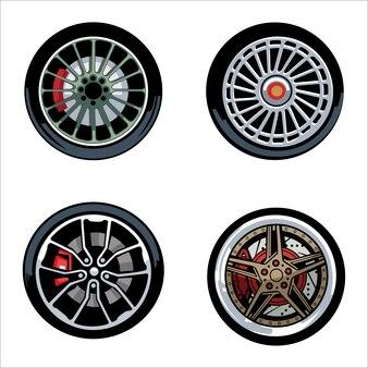 Ilustração de rodas de carros esportivos
