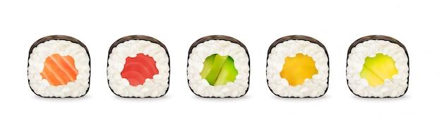 Ilustração de rolos de sushi