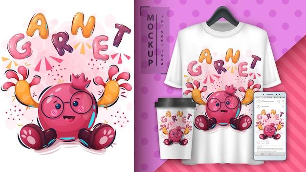 Ilustração de romã engraçado e merchandising