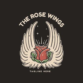 Ilustração de rosa e asas