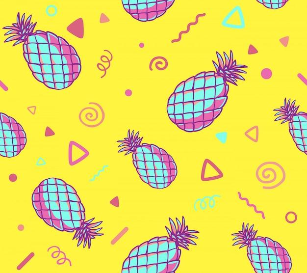 Ilustração de rosa e azul padrão com abacaxis em fundo amarelo.
